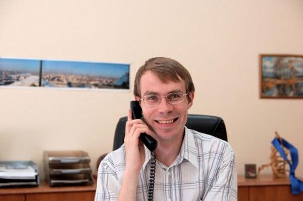 Businessman talks on a phone